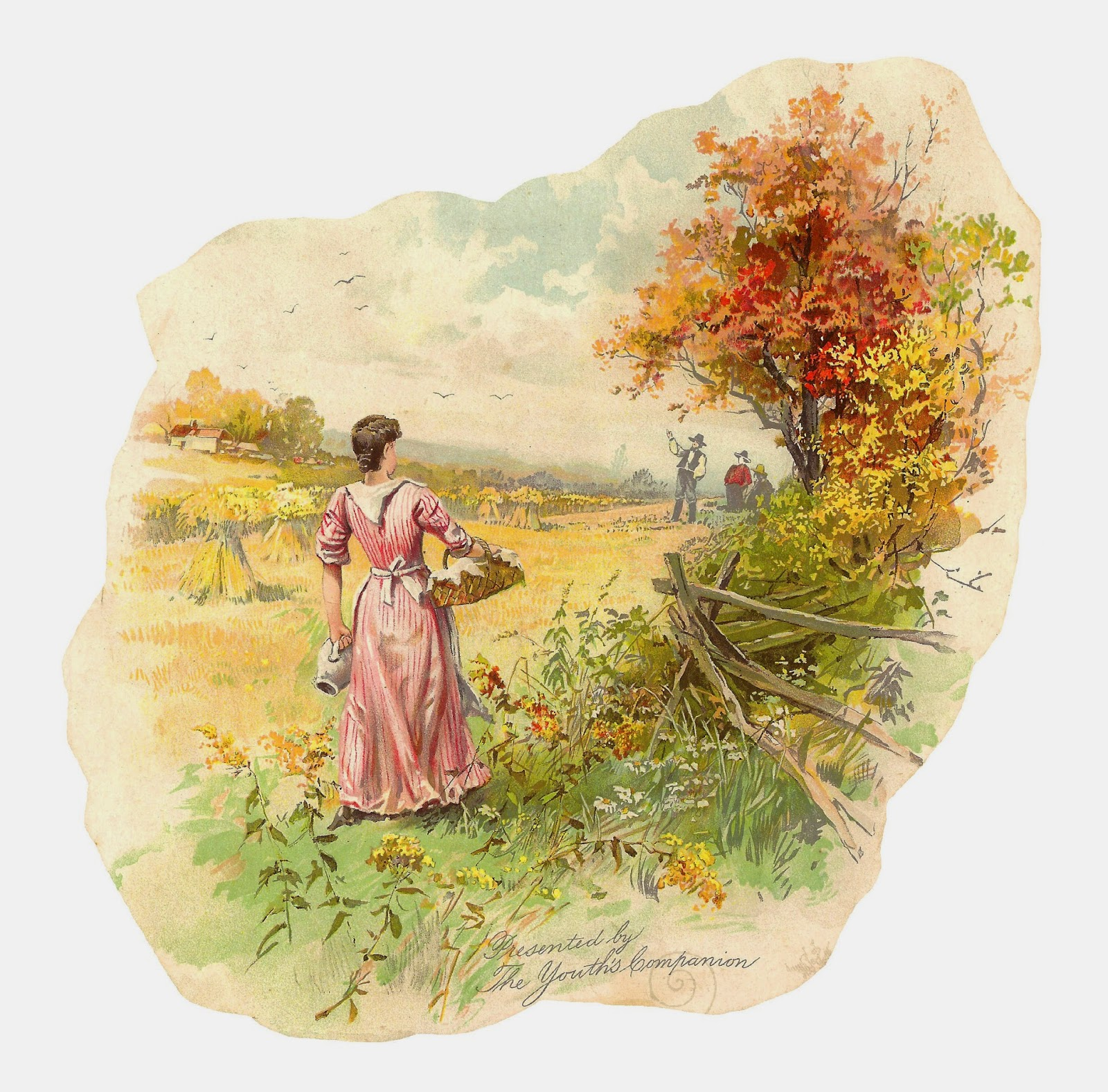 Countyside clipart fields Clip in Art of Antique