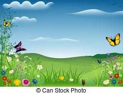 Countyside clipart garden background Stock Landscape Illustrations Landscape Background