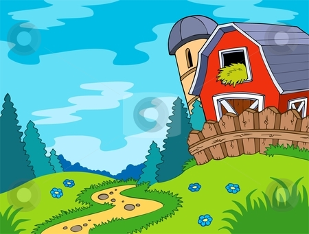 Country clipart landscape With stock landscape barn Country