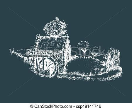 Countyside clipart landscape photography Countryside Hand rural of mill