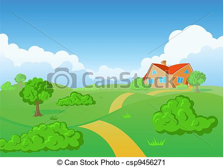 Countyside clipart meadow Vector csp9456271 Background of Clip