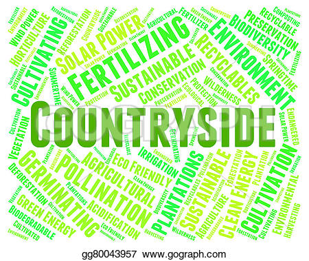 Countyside clipart meadow  picturesque representing Illustration word