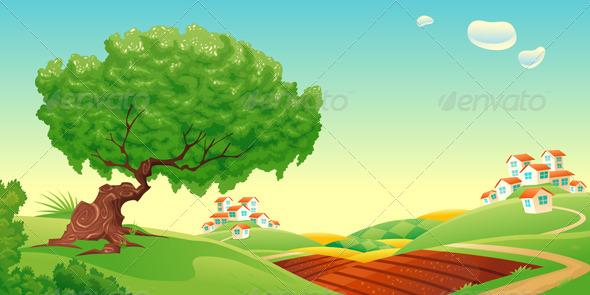 Countyside clipart nature cartoon Countryside Cartoon and Countryside Trees