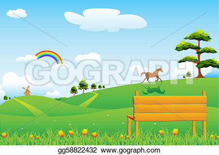 Countyside clipart outdoor scene Vector Drawing Countryside scene Drawing