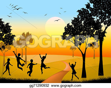 Countyside clipart outdoor scene Countryside  indicates time Stock