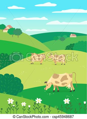 Community clipart country landscape Herd farm Vector Cows background