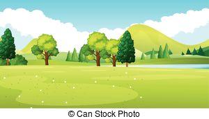 Countyside clipart park scene Scene scene in green