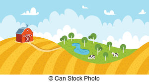Community clipart country landscape Barn cows with Country of