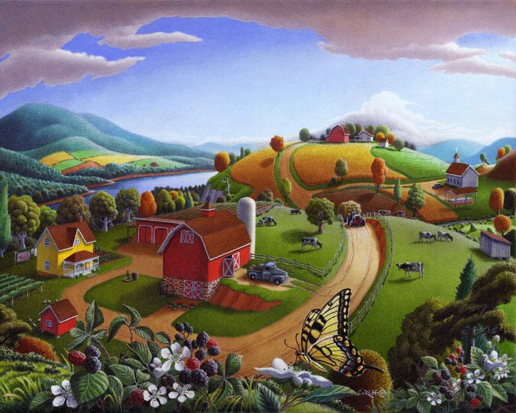 Countyside clipart rural life Painting: Farm Americana Country Pinterest