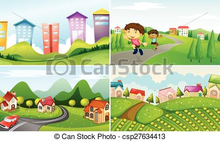 Countyside clipart rural town Vector Art countryside csp27634413 four