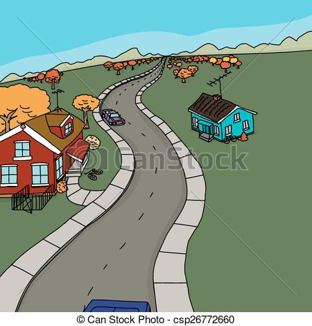 Countyside clipart rural town Houses on Country Road and