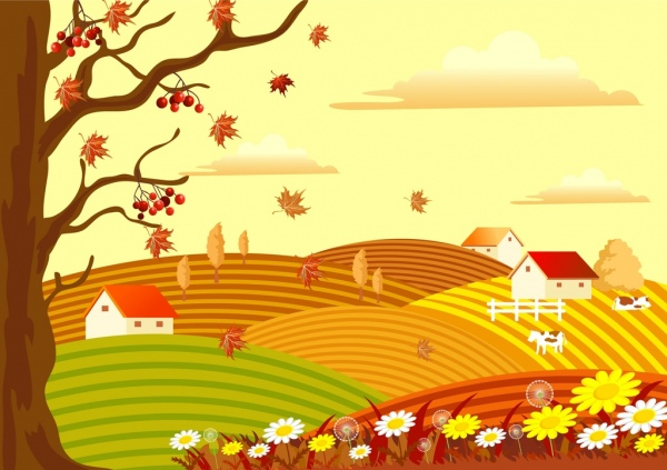 Drawn scenic day Scenery Free vector) landscape tree