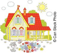 Countyside clipart village house Colorful  with on Clipart