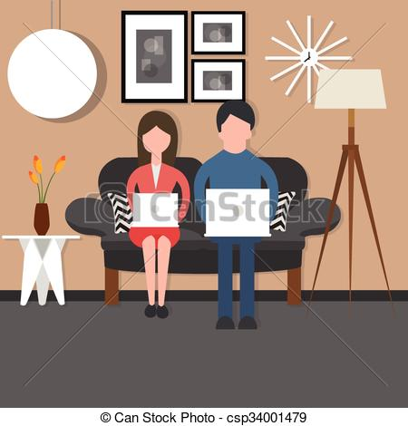 Couple clipart couch Room laptop on couple