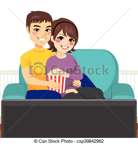 Couple clipart couch Young csp39842962 of Couple