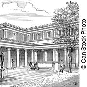 Courtyard clipart House Roman   vintage