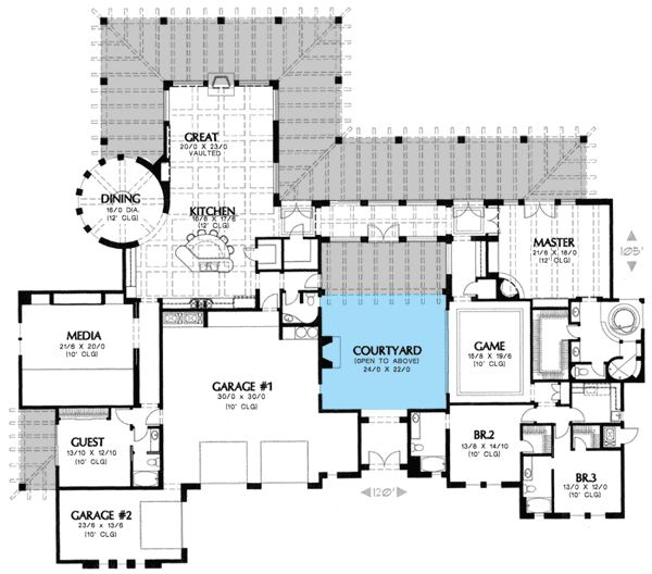 Courtyard clipart ranch house Mid  Mid / on