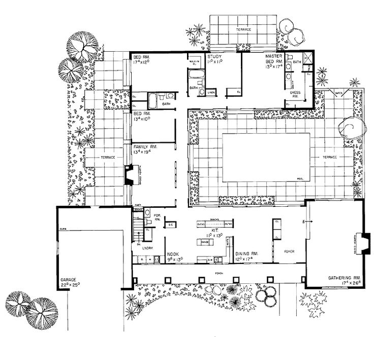 Courtyard clipart ranch house House courtyard more house /