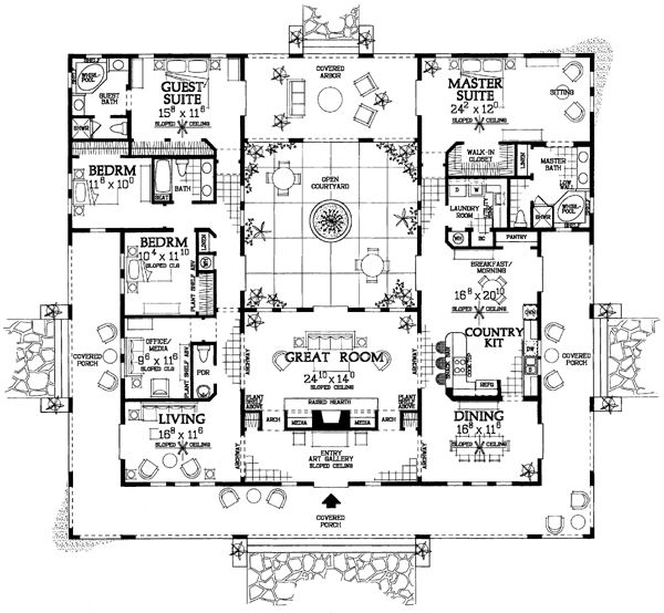 Courtyard clipart ranch house House on Plans Pinterest images