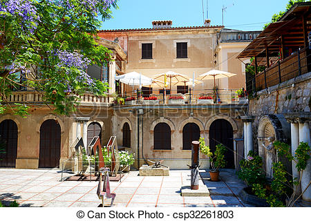 Courtyard clipart monastery Building restaurant Stock on Mallorca