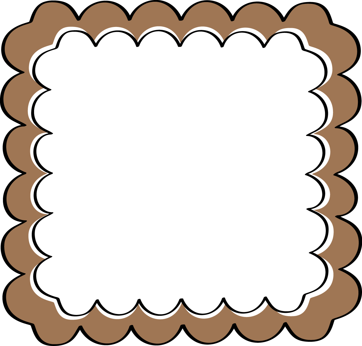 Cover clipart frame Clip Brown Frame Scalloped Art