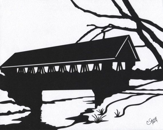Covered Bridge clipart Simple Covered Bridge Drawing Covered images by Silhouette scenery