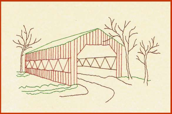 Covered Bridge clipart Simple Covered Bridge Drawing View DODD Product the STITCHERY