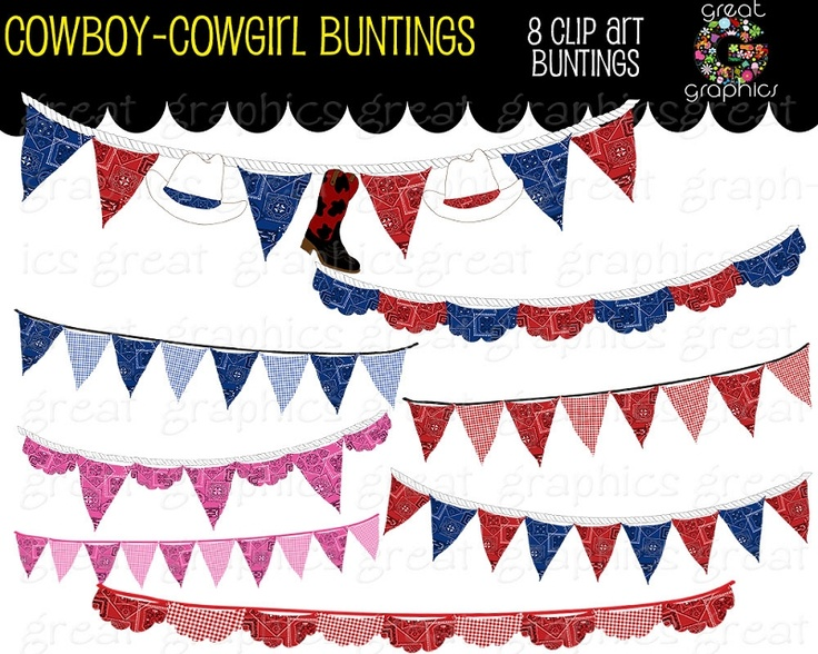 Cowboy clipart banner Bunting Cowgirl  Banner great