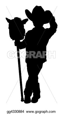 Cowboy clipart body Path with Silhouette Illustrations clipping