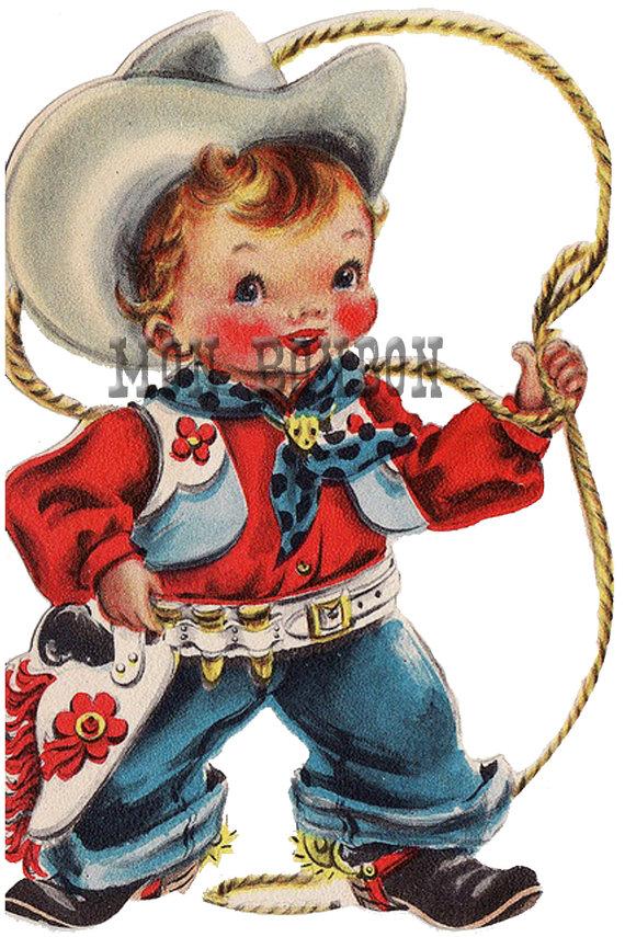 Cowboy clipart christmas cowboy INSTANT Cowboy Illustration Christmas DIY