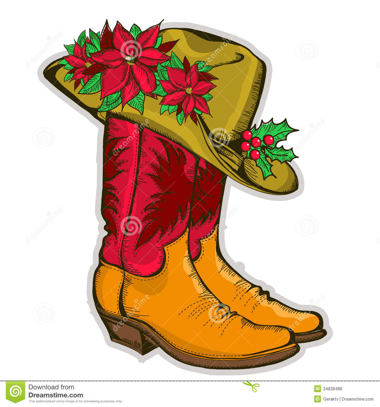 Cowboy clipart christmas cowboy Santa collection Boots Cowboy christmas