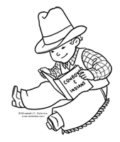 Cowboy clipart reading : Coloring Tuesdays Page :