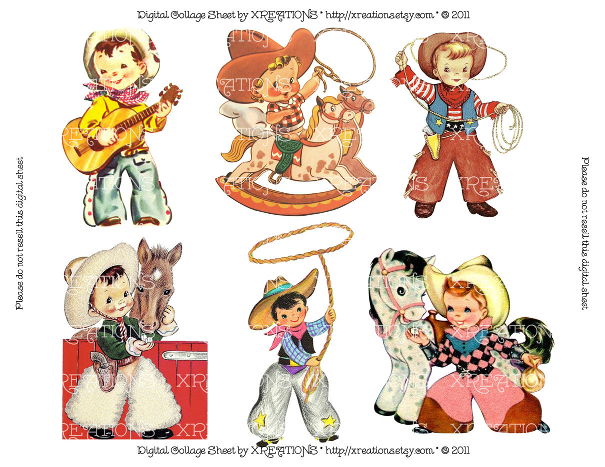 Cowboy clipart vintage child Cute Card on this Vintage