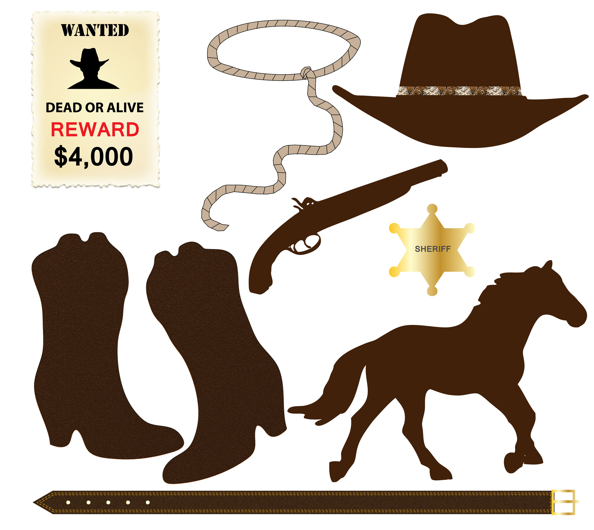 Cowboy clipart wanted Domain Free Clip Icons Stock