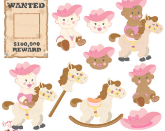 Cowgirl clipart baby shower Art Babies Cute Set Etsy