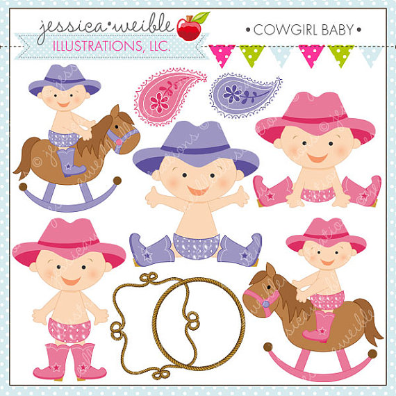 Cowgirl clipart baby shower Clipart Cute Clipart Commercial Commercial