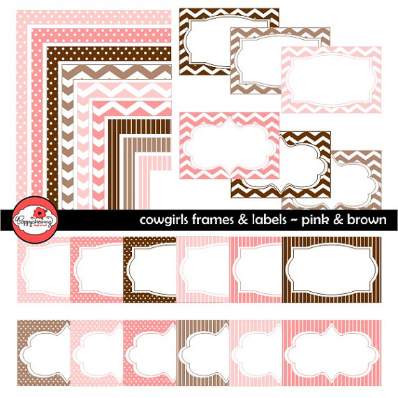 Cowgirl clipart border frame Pack Chevron Card Pack Dots