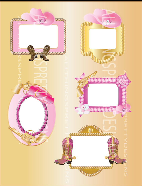 Cowgirl clipart border frame Pink Graphic Gold digital cowgirl