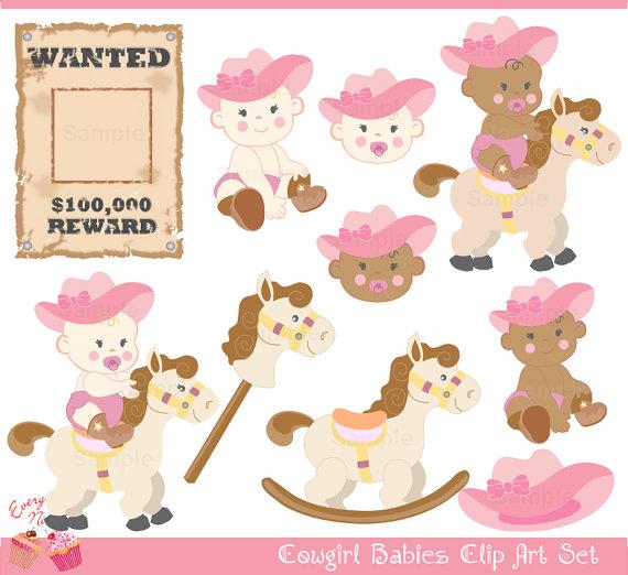 Cowgirl clipart cute Babies Art Cowgirl Cute Set