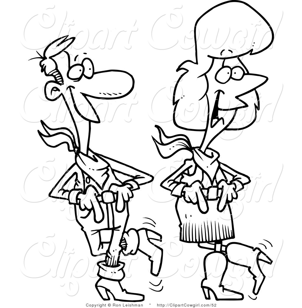 Cowgirl clipart dancing Line toonaday by of Couple
