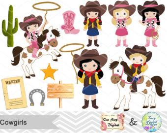 Cowgirl clipart little cowgirl West Digital Clip Digital Digital