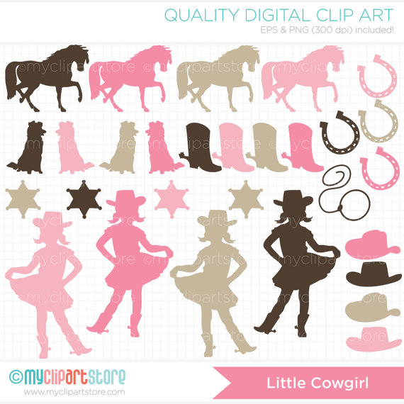 Cowgirl clipart little cowgirl Wild vector pink Silhouettes cowgirl