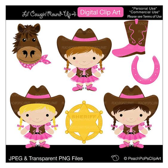 Cowgirl clipart roundup Art Lil The digital of