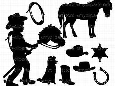 Cowboy clipart little boy Silhouette Vector Little Silhouette vector