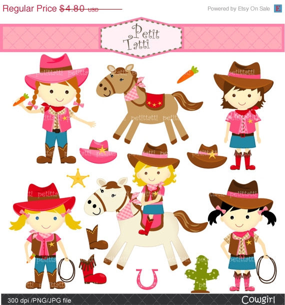 Cowgirl clipart toddler Cute Cowgirls invites clipart SALE