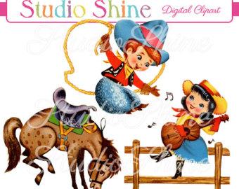 Cowboy clipart vintage cowboy And Etsy Cowboy cute cowboy
