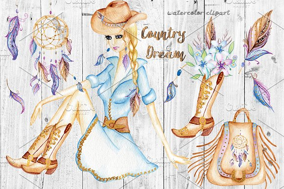 Cowgirl clipart wedding Illustrations Watercolor Western Cowgirl on