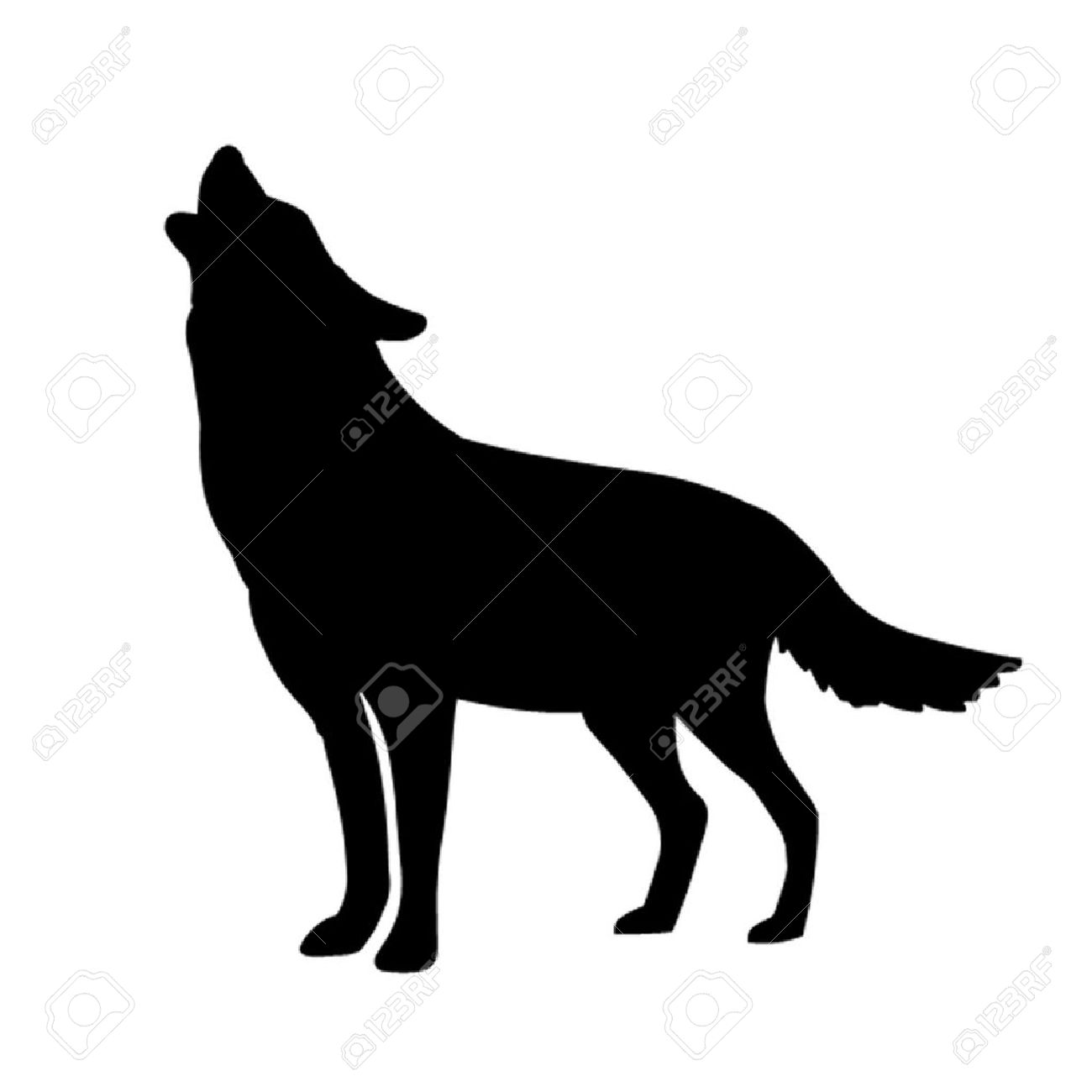 Arctic Wolf clipart outline howling Free scroll Howling  Cliparts