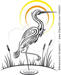 Animal clipart crane Seamartini Free Vector Sunset Wading