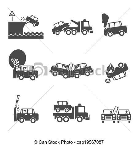 Crash clipart black and white And of icons Black Vector